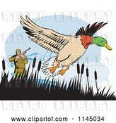 Vector Clip Art of Retro Hunter Aiming at a Mallard by Patrimonio