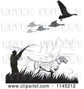 Vector Clip Art of Retro Hunter and Dog Under Geese by Patrimonio