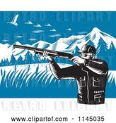 August 14th, 2018: Vector Clip Art of Retro Hunter Holding a Rifle and Aiming at Geese in the Mountains by Patrimonio