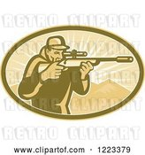 Vector Clip Art of Retro Hunter Looking Through a Rifle Scope in an Oval of Mountains and Rays by Patrimonio