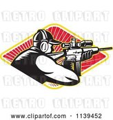 Vector Clip Art of Retro Hunter Shooting a Rifle in a Diamond of Rays by Patrimonio