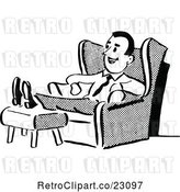 Vector Clip Art of Retro Husband or Father Relaxing in a Chair by Prawny Vintage