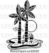 Vector Clip Art of Retro Hut on a Tropical Island by BestVector
