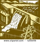 Vector Clip Art of Retro Hydroelectric Dam in Woodcut by Patrimonio