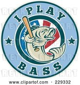Vector Clip Art of Retro I Play Bass Text Around a Fish Holding a Baseball Bat by Patrimonio