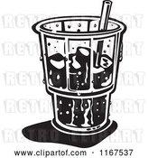 Vector Clip Art of Retro Ice Cold Glass with a Straw and Ice by Andy Nortnik