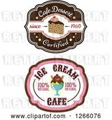 Vector Clip Art of Retro Ice Cream Sundae and Cake Labels by Vector Tradition SM