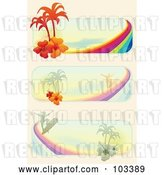 Vector Clip Art of Retro Igital Collage of Tropical Surf Website Banners by MilsiArt