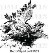 Vector Clip Art of Retro Injured Turkey Bird by Prawny Vintage