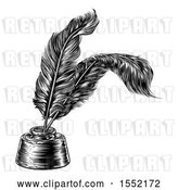 Vector Clip Art of Retro Ink Well with Feather Quill Pens by AtStockIllustration