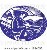 Vector Clip Art of Retro Insurance Adjuster Crouching by a Damaged Car by Patrimonio