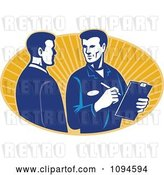 Vector Clip Art of Retro Insurance Adjuster Speaking with a Client over Orange Rays by Patrimonio