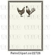 Vector Clip Art of Retro Invitation with a Rooster Pair on Beige by BestVector