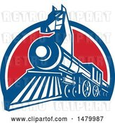 Vector Clip Art of Retro Iron Horse Headed Train in a Red White and Blue Half Circle by Patrimonio