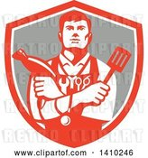 Vector Clip Art of Retro Jack of All Trades Worker Guy Holding a Blow Dryer and Spatula, Wearing a Stethoscope and Tools in a Shield by Patrimonio