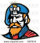Vector Clip Art of Retro Jacobite Highlander Mascot Wearing a Beret by Patrimonio