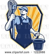 Vector Clip Art of Retro Janitor Guy with a Mop and Bucket Emerging Form a Shield of Rays by Patrimonio