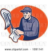Vector Clip Art of Retro Janitor Holding a Mop and Cloth over an Orange Oval by Patrimonio