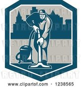 Vector Clip Art of Retro Janitor Operating a Carpet Cleaner over a City in a Shield by Patrimonio