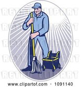 Vector Clip Art of Retro Janitor Using a Mop in a Ray Oval by Patrimonio