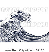 Vector Clip Art of Retro Japanese Styled Ocean Wave by AtStockIllustration