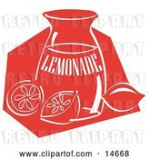 Vector Clip Art of Retro Jar of Lemonade and a Sliced and Whole Lemon Resting on the Counter Clipart Illustration by Andy Nortnik