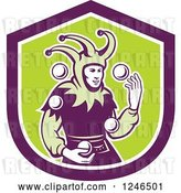 Vector Clip Art of Retro Jester Juggling Balls over a Green and Purple Shield by Patrimonio