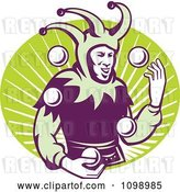 Vector Clip Art of Retro Jester Juggling Balls over a Green Oval of Rays by Patrimonio