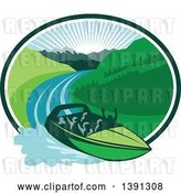 Vector Clip Art of Retro Jet Boat Speeding down a River with a Sunrise and Mountains in the Background Within an Oval by Patrimonio