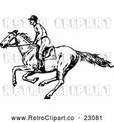 Vector Clip Art of Retro Jockey on a Galloping Horse 1 by Prawny Vintage