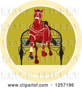 Vector Clip Art of Retro Jockey Racing a Horse Cart in a Circle by Patrimonio