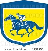 Vector Clip Art of Retro Jockey Racing a Horse in a Blue White and Yellow Shield by Patrimonio