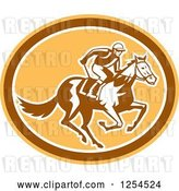 Vector Clip Art of Retro Jockey Racing a Horse in a Brown and Orange Oval by Patrimonio