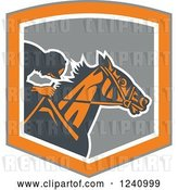 Vector Clip Art of Retro Jockey Racing a Horse in a Gray and Orange Shield by Patrimonio