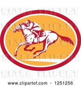 Vector Clip Art of Retro Jockey Racing a Horse in a Red White and Orange Oval by Patrimonio