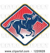 Vector Clip Art of Retro Jockey Racing a Horse on a Diamond of Red Sunshine by Patrimonio