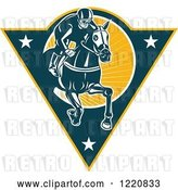 Vector Clip Art of Retro Jockey Racing a Horse on a Triangle with Stars and Sunshine by Patrimonio