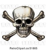 Vector Clip Art of Retro Jolly Roger Skull over Crossbones by AtStockIllustration