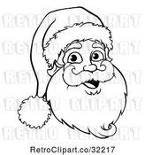 Vector Clip Art of Retro Jolly Santa Claus Face by AtStockIllustration