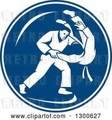 Vector Clip Art of Retro Judo Opponents in a Throw Takedown in a Blue and White Circle by Patrimonio