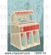 Vector Clip Art of Retro Jukebox on a Grungy Background by Any Vector