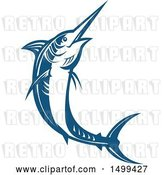 Vector Clip Art of Retro Jumping Blue Marlin Fish by Patrimonio