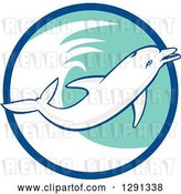 Vector Clip Art of Retro Jumping Dolphin in a Blue White and Turquoise Circle by Patrimonio