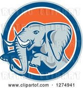 Vector Clip Art of Retro Jumping Elephant in a Gray Blue White and Orange Circle by Patrimonio