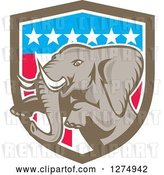 Vector Clip Art of Retro Jumping Elephant in an American Flag Shield by Patrimonio