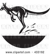 Vector Clip Art of Retro Jumping Kangaroo by Patrimonio