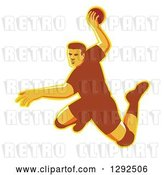 Vector Clip Art of Retro Jumping Male Handball Player Preparing to Throw the Ball by Patrimonio