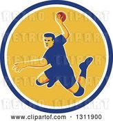 Vector Clip Art of Retro Jumping Male Handball Player Preparing to Throw the Ball in a Blue White and Yellow Circle by Patrimonio
