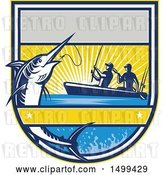 Vector Clip Art of Retro Jumping Marlin Fish Being Reeled in by Two Men Tandem Fishing from a Boat by Patrimonio