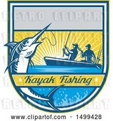 Vector Clip Art of Retro Jumping Marlin Fish Being Reeled in by Two Men Tandem Fishing with Text by Patrimonio